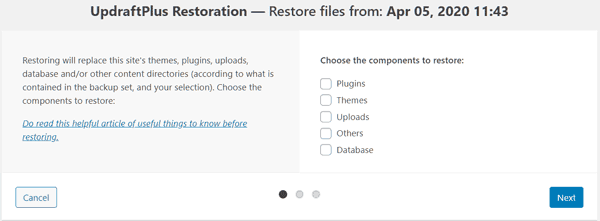 updraft plus select files to restore