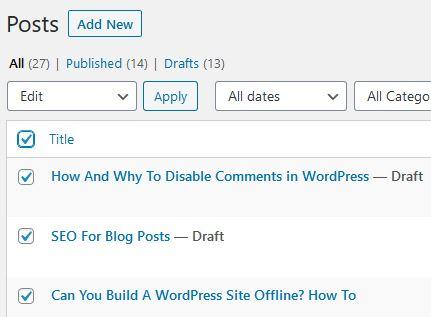 bulk select wordpress posts